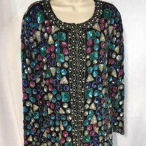 Vintage Jagswear Size L Pure Silk Black BEADED Top